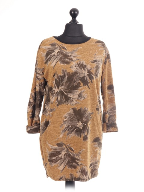 Italian Floral Print Lagenlook Tunic Top Pockets