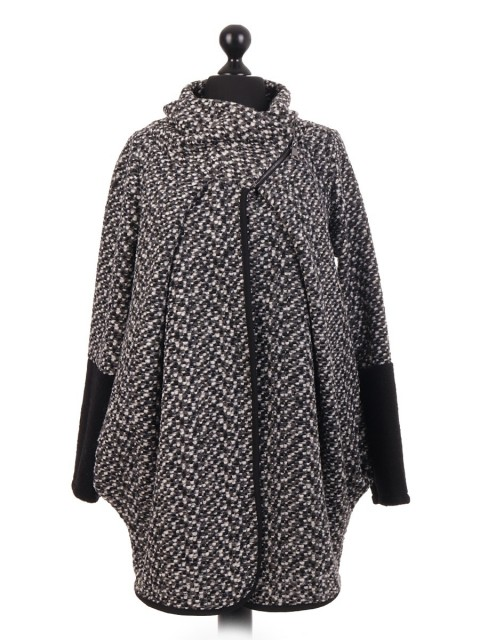 Italian Large Wool Mix Cocoon Coatigan Coat