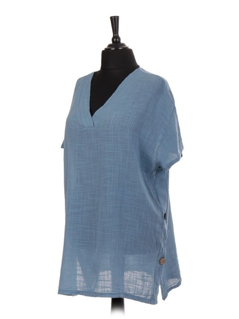Italian V-neck Cotton Top With Side Button Panel