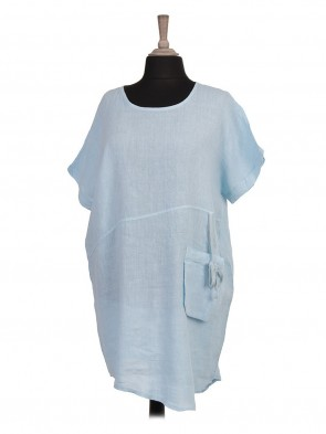 Italian Asymmetric Hem Front Pocket Linen Dress