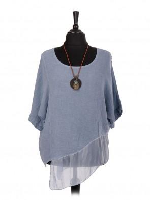 Italian Linen Assymetrical Chiffon Hem Batwing Top with Necklace