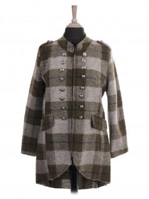 Italian Check Print Hi-lo Wool Jacket