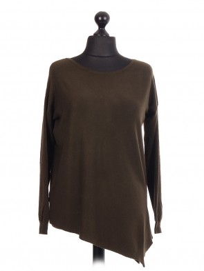 Asymmetric Hem Knitted Jumper