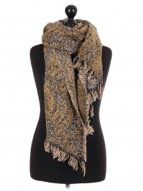 Asymmetric Long Fringed Scarf