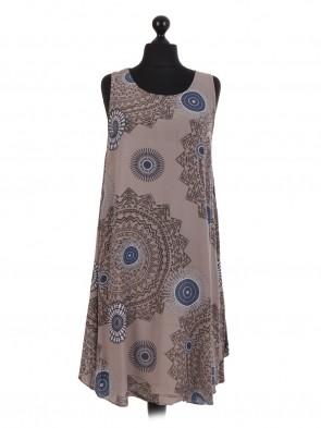 Italian Aztec Print Sleeveless Swing Dress