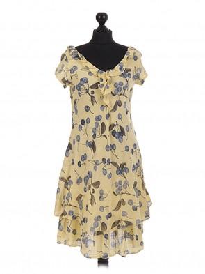 Italian cherry Printed Layerd Frilled Dress