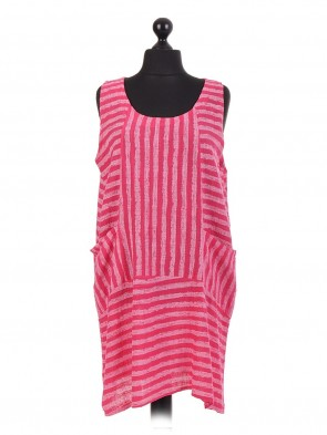 Italian Cotton Stripy Sleeveless Dress