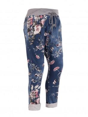 Italian Plus Size Floral Print Cotton Trouser