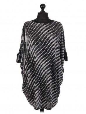 Glittery Stripe Pattern Batwing Top