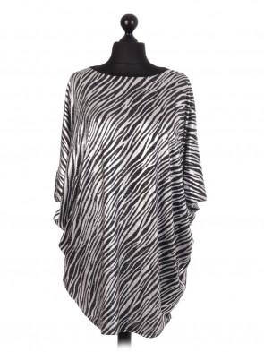 Glittery Zebra Stripe Batwing Top