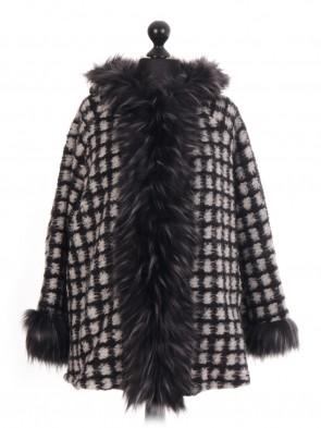 Italian  Check Faux Fur Trim Jacket