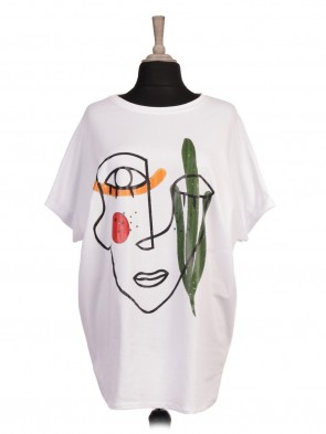 Italian Abstract Face Print Batwing Top
