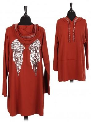Italian Glittery Trim Angel Wing Hooded Cotton Top