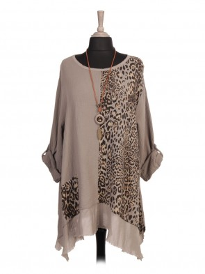 Italian Animal Print Panel Tunic Top With Necklace