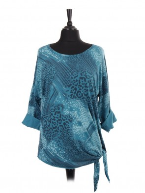 Italian Turn-up Sleeves Animal Print Side Knot Batwing Top