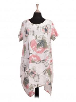 Italian Asymmetric Hem Abstract Printed Linen Lagenlook Dress