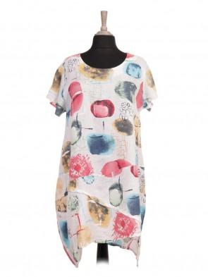 Italian Asymmetric Hem Circle Printed Linen Lagenlook Dress