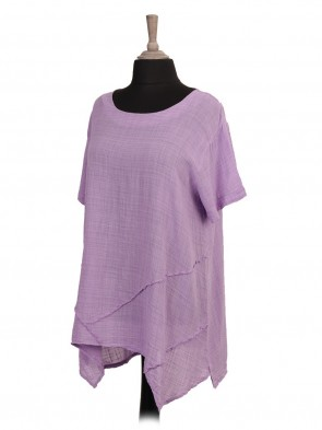 Italian Cheesecloth Asymmetric Hem Tunic Top