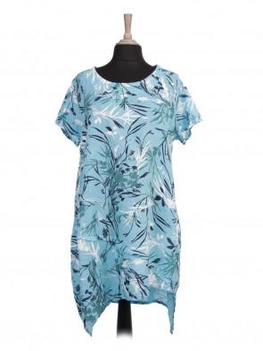 Italian Asymmetric Hem Printed Lagenlook Linen Dress
