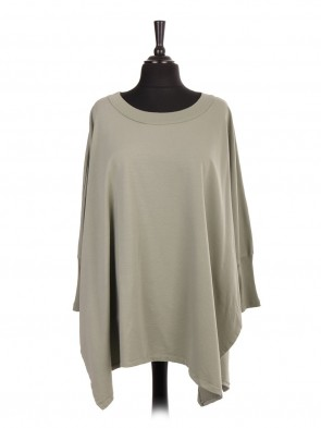 Italian Batwing Tunic Top With Side Split And Ribbed Sleeves