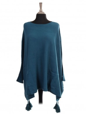 Italian Boat Neck Tassel Poncho With Front Pockets