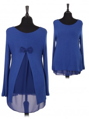 Italian Bow And Split Back Knitted Top