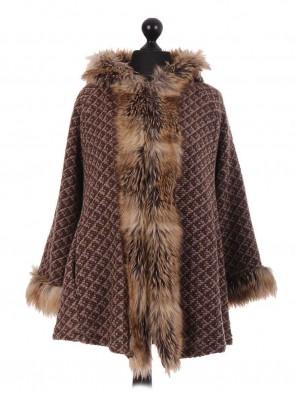 Italian Brown Textured Faux Fur Cape Jacket