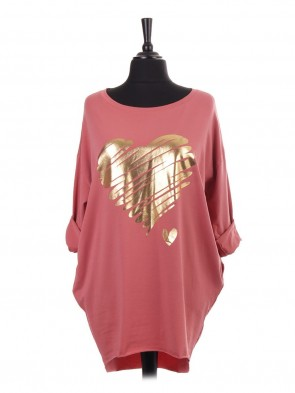 Italian Brush Stroke Glossy Heart Print Dip Hem Top