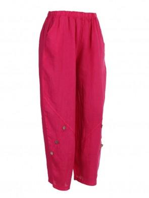 Italian Button Detail Wide Leg Linen Trousers