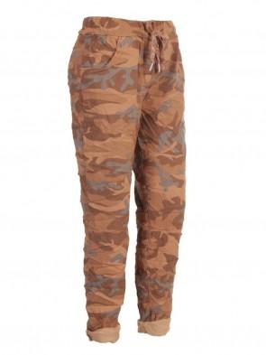 Plus Size Italian Camouflage Print Cotton Magic Pants