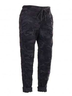 Plus Size Italian Camouflage Print Trouser With Drawstring Waist Belt