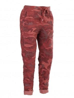 Italian Camouflage Print Trouser With Drawstring Waist Belt