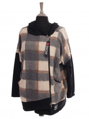 Italian Check Print Hooded Lana Wool Jacket With Front Pocket