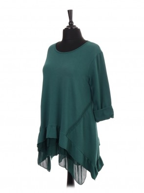Italian Chiffon Hem Tunic Top With Crochet Detail