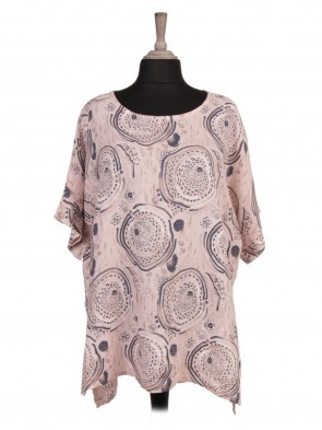 Italian Circle Print Linen High Low Batwing Top