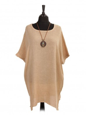 Italian Cold Dye Linen Batwing Dress with Necklace