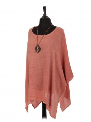 Italian Cold Dye Linen Batwing Top With Necklace