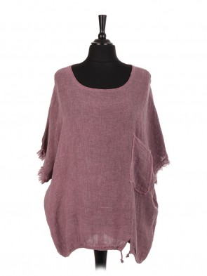 Italian Cold Dye Linen Gathered Hem Top With Front Pocket