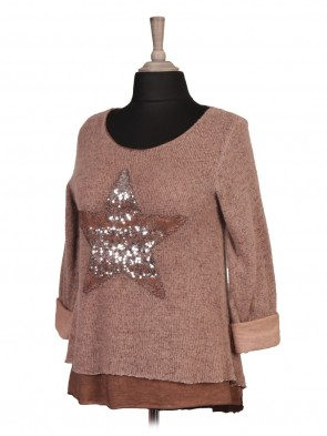 Italian Cold Dye Two Layered Sequin Star Mohair Jumper