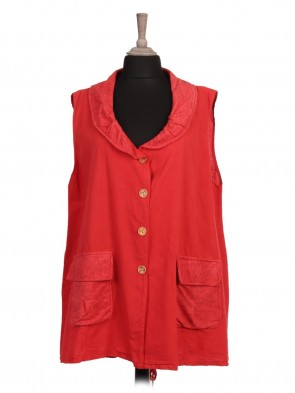 Italian Collar Linen Jacket With Front Pockets