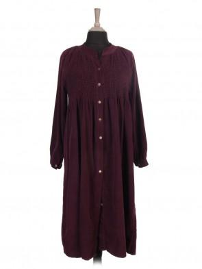 Italian Corduroy Embroidered Flared Maxi Dress