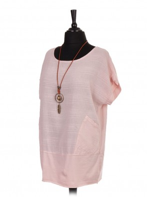 Italian Cotton Necklace Top With Pockets