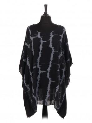Italian Cotton Tie & Dye Silk Panel Kaftan Top