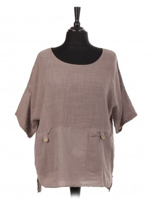 Italian Cotton Top With Buttoned Pockets