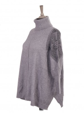 Italian Cowl Neck Crochet Shoulder Batwing Jumper