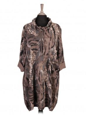 Italian Cowl Neck Feather Printed Lagenlook Dress