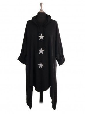 Italian Cowl Neck Glitter Stars Long Dress