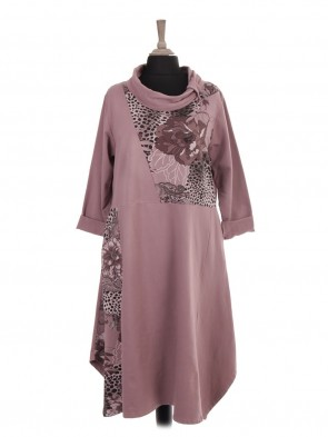 Italian Cowl Neck Printed Panel Lagenlook Dress With Side Pockets