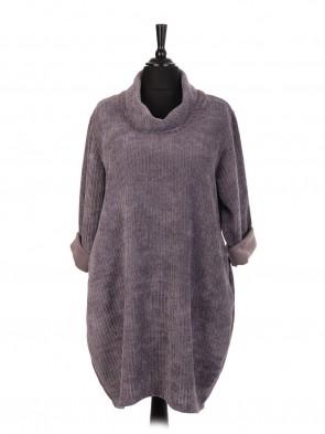 Italian Cowl Neck Velour Lagenlook Dress With Side Pockets
