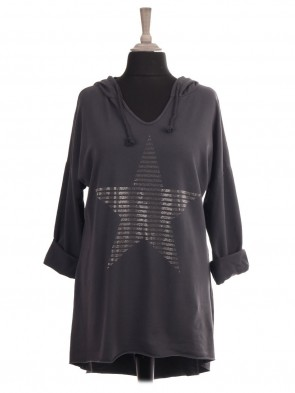 Italian Diamante Star Hooded Dip Hem Top